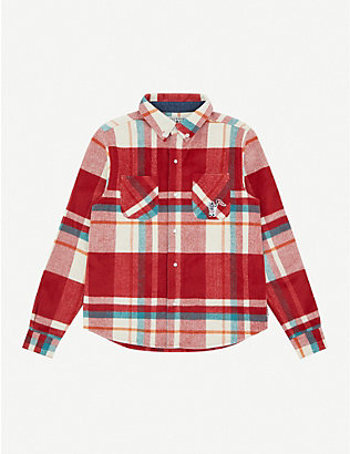 BILLIONAIRE BOYS CLUB: Checked brand-appliqué flannel overshirt