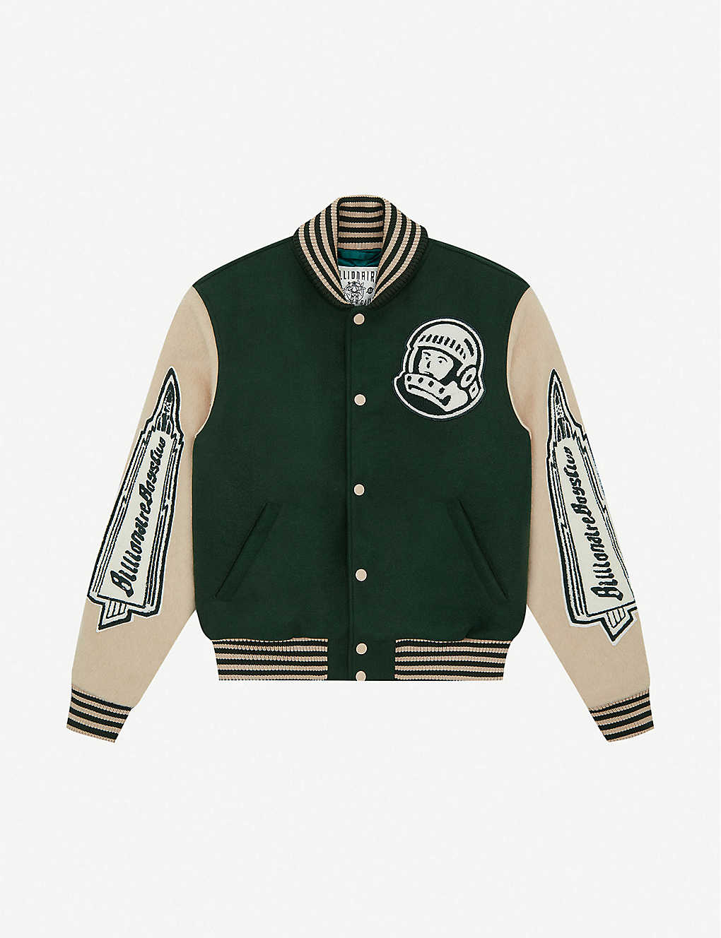 BILLIONAIRE BOYS CLUB: Heart & Mind striped-trim felt bomber jacket