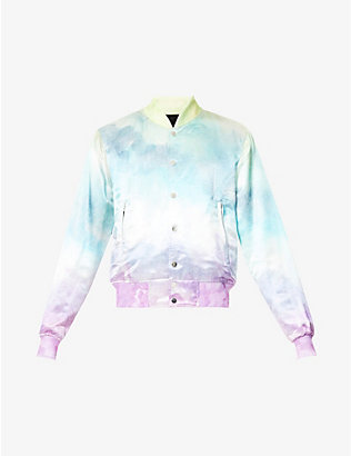 AMIRI: Watercolour abstract-print crepe bomber jacket