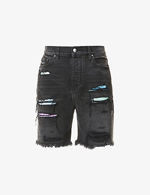 AMIRI: Watercolour ripped denim shorts