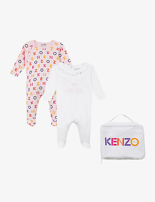 KENZO: Graphic-print cotton babygrow set of two 3-12 months