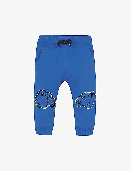 KENZO: Graphic-embroidered cotton jogging bottoms 6-36 months
