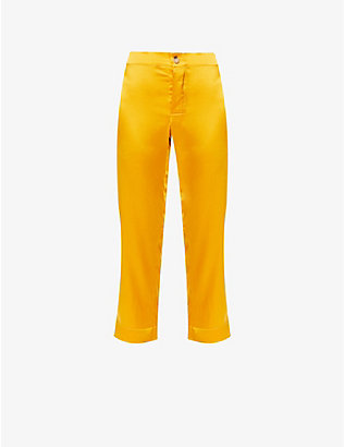 ASCENO: Antibes cropped silk-satin pyjama bottoms