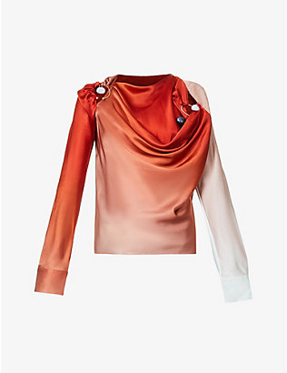 CHRISTOPHER ESBER: Draped quartz-embellished silk shirt
