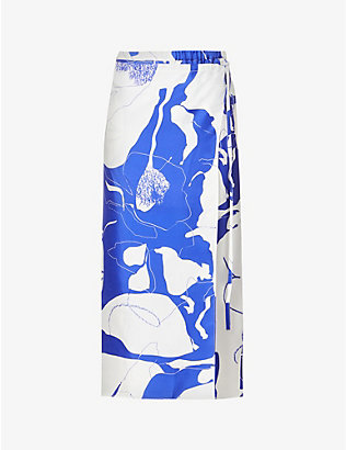 CHRISTOPHER ESBER: Printed silk maxi skirt