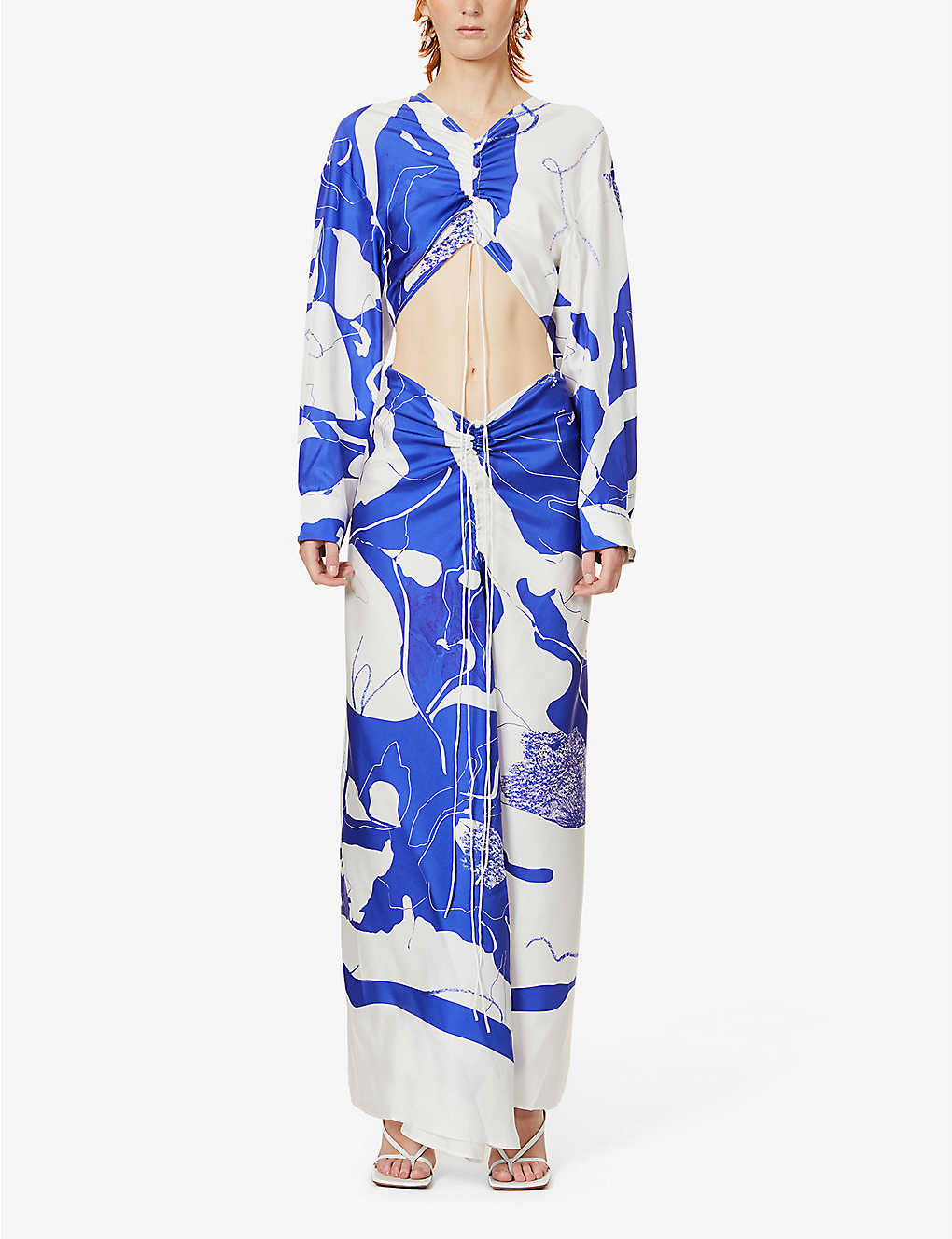 CHRISTOPHER ESBER: Disconnect printed silk-twill maxi dress