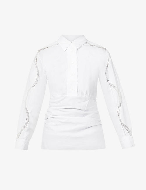 CHRISTOPHER ESBER: Cummerbund gathered-waist drawstring cotton shirt