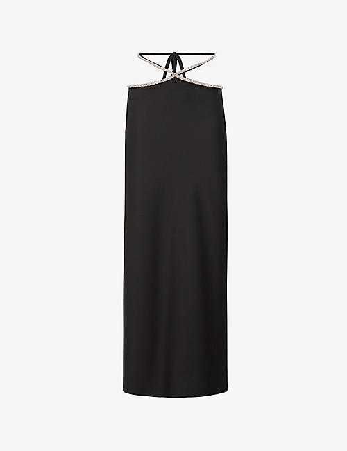 CHRISTOPHER ESBER: Rhinestone-trimmed wool-blend high-waisted midi skirt