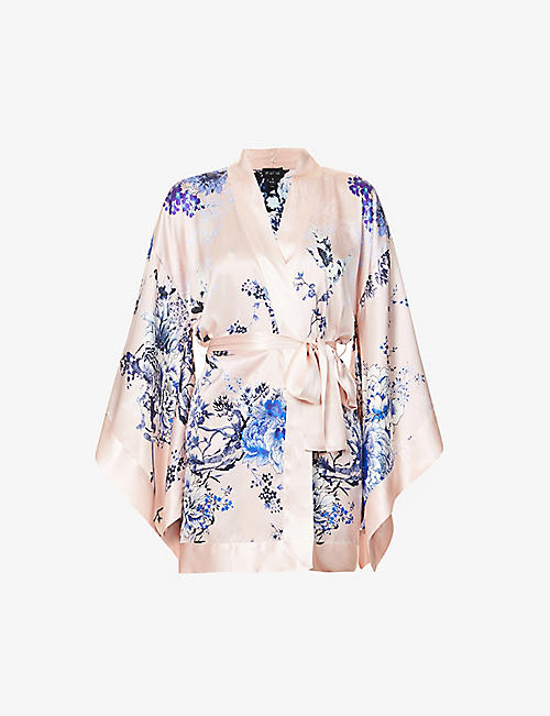 MENG: Floral-pattern collarless silk-satin robe
