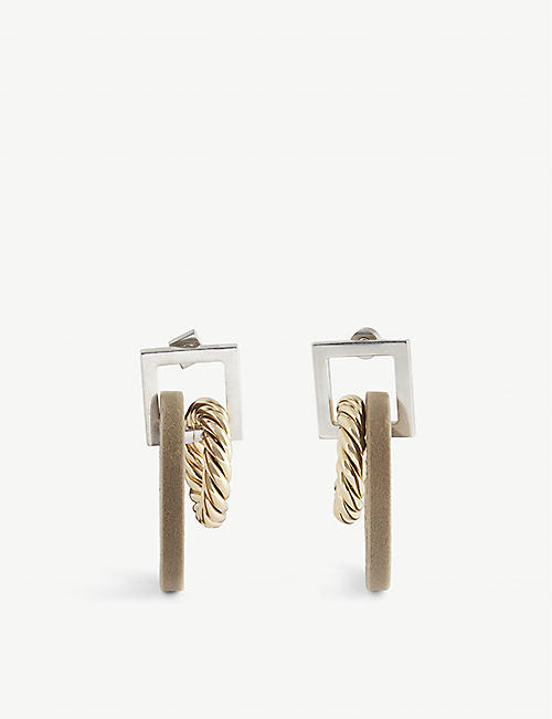 JACQUEMUS: Albi flocked drop hoop earrings