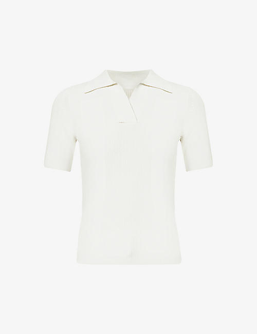 JACQUEMUS: La Maille Polo cut-out stretch-knit top
