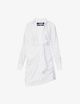 JACQUEMUS: La Robe Bahia ruched woven mini dress