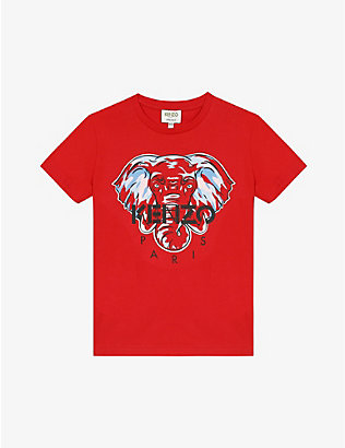 KENZO: Elephant cotton T-shirt 4-14 years