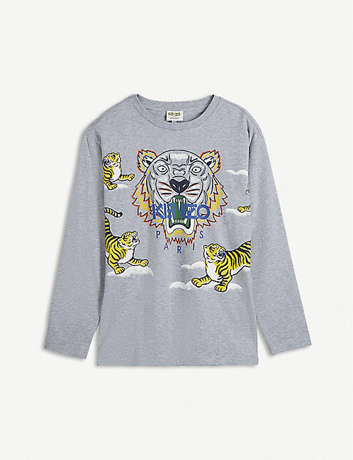 KENZO: Tiger-print cotton-jersey top 4-14 years