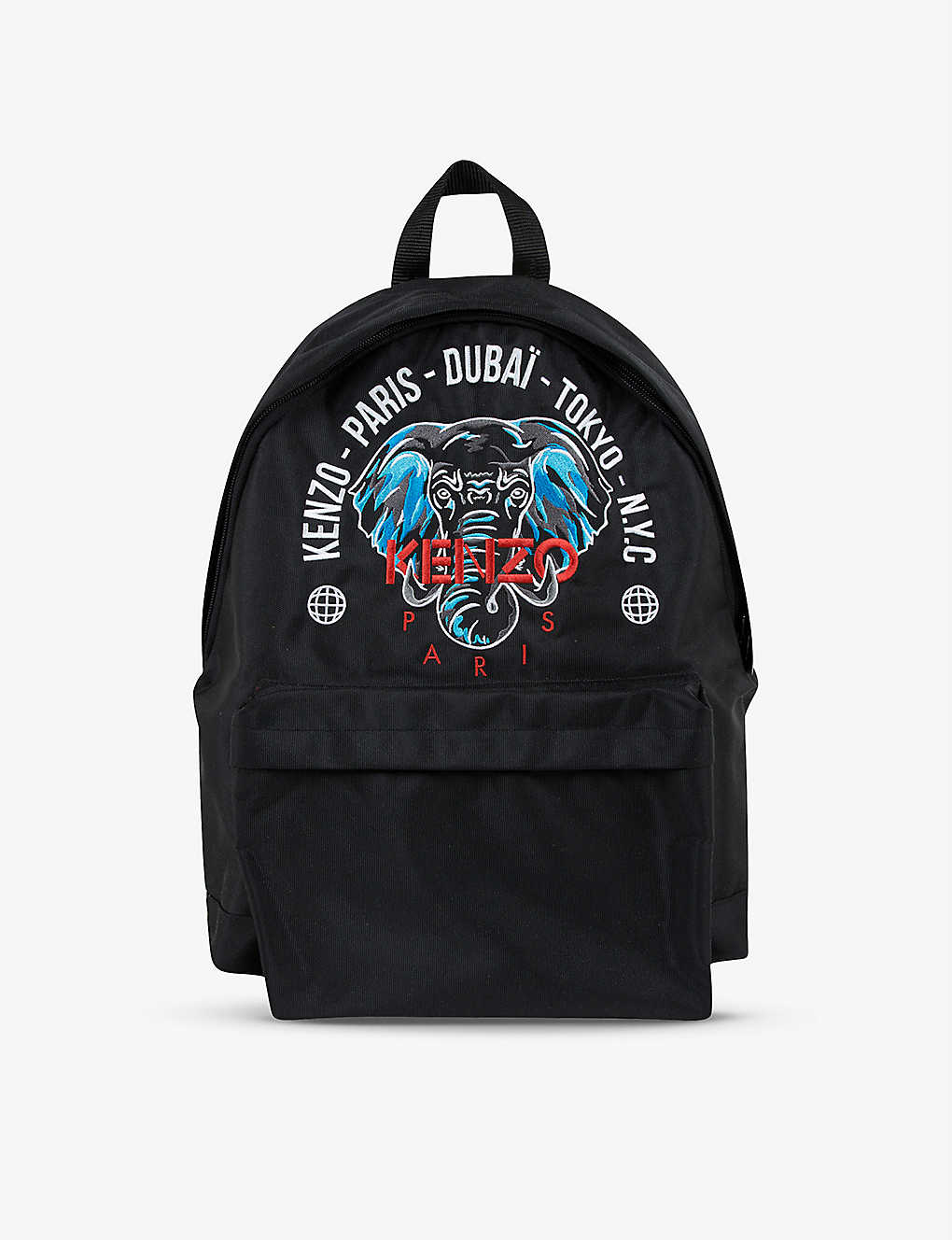 KENZO: Kids elephant-embroidered woven backpack