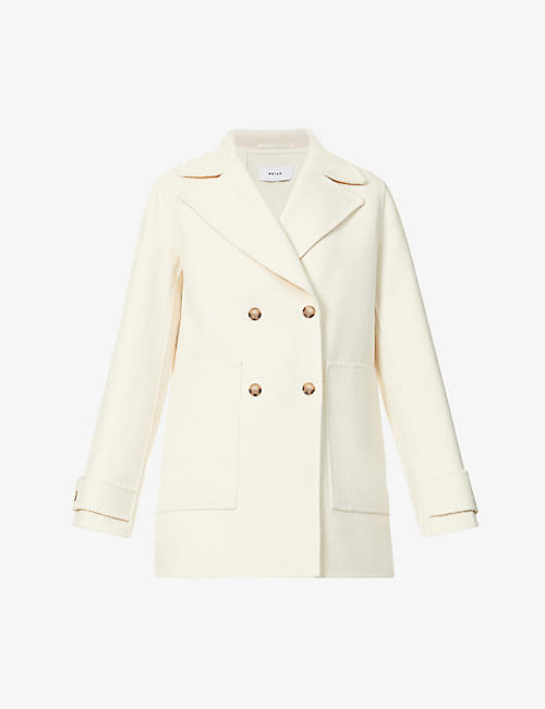 REISS: Amber double-breasted wool-blend coat