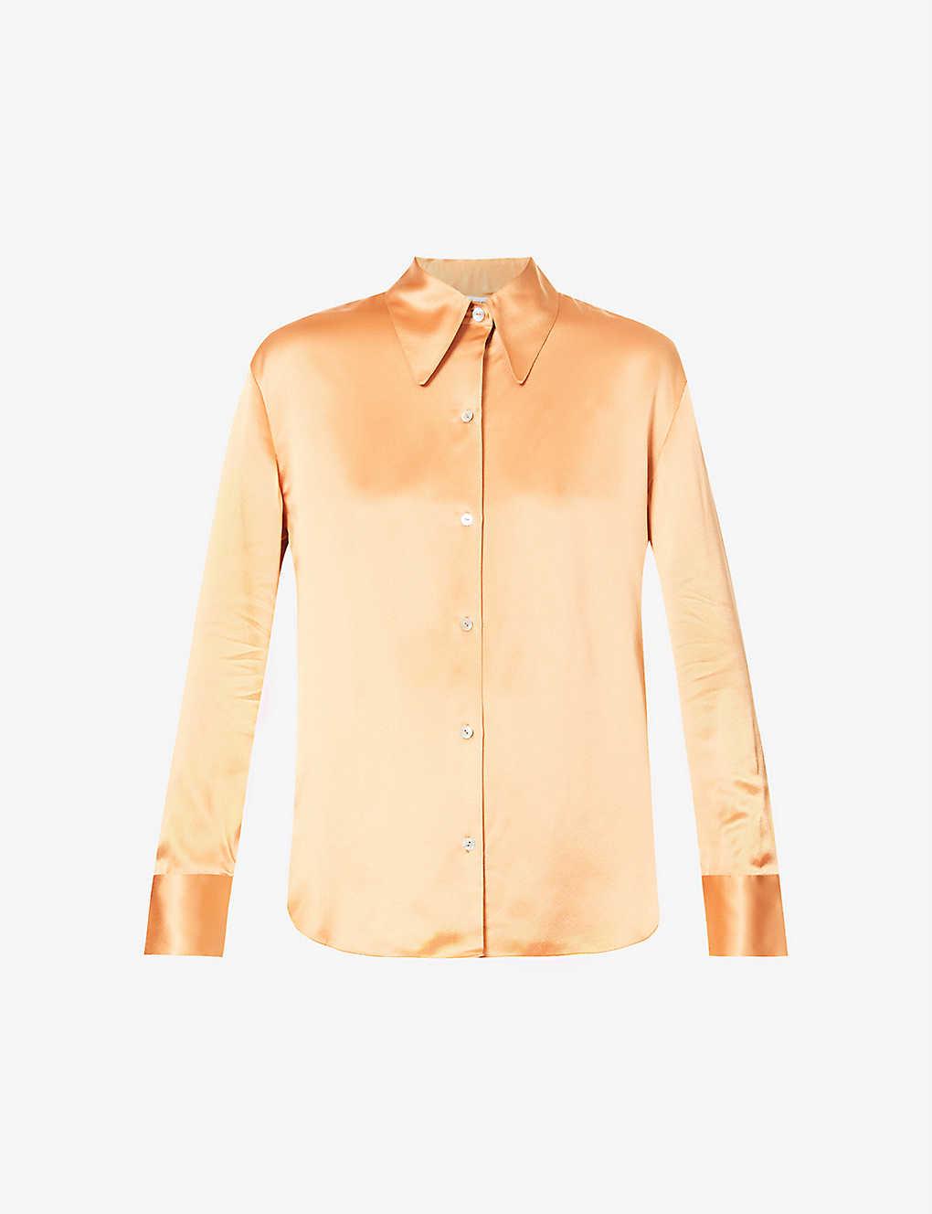 VINCE: Point-collar silk-satin shirt