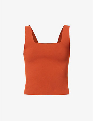 VINCE: Square neck stretch-jersey vest top