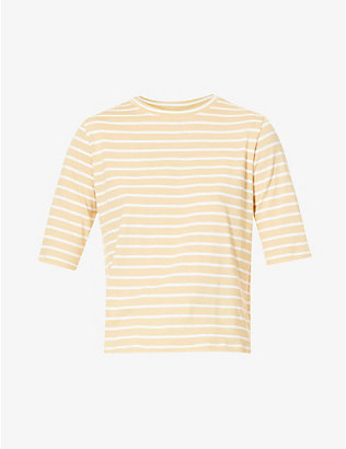 VINCE: Vintage Stripe short-sleeve cotton T-shirt