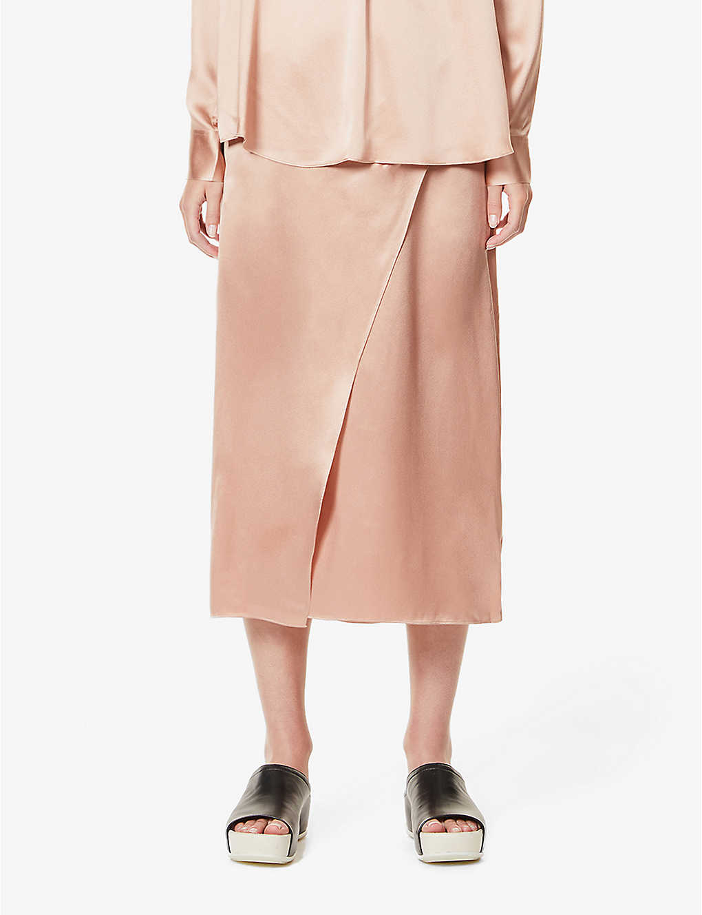 VINCE: High-waist wrap-over silk skirt
