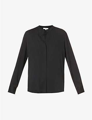 VINCE: Mandarin-collar stretch-silk shirt