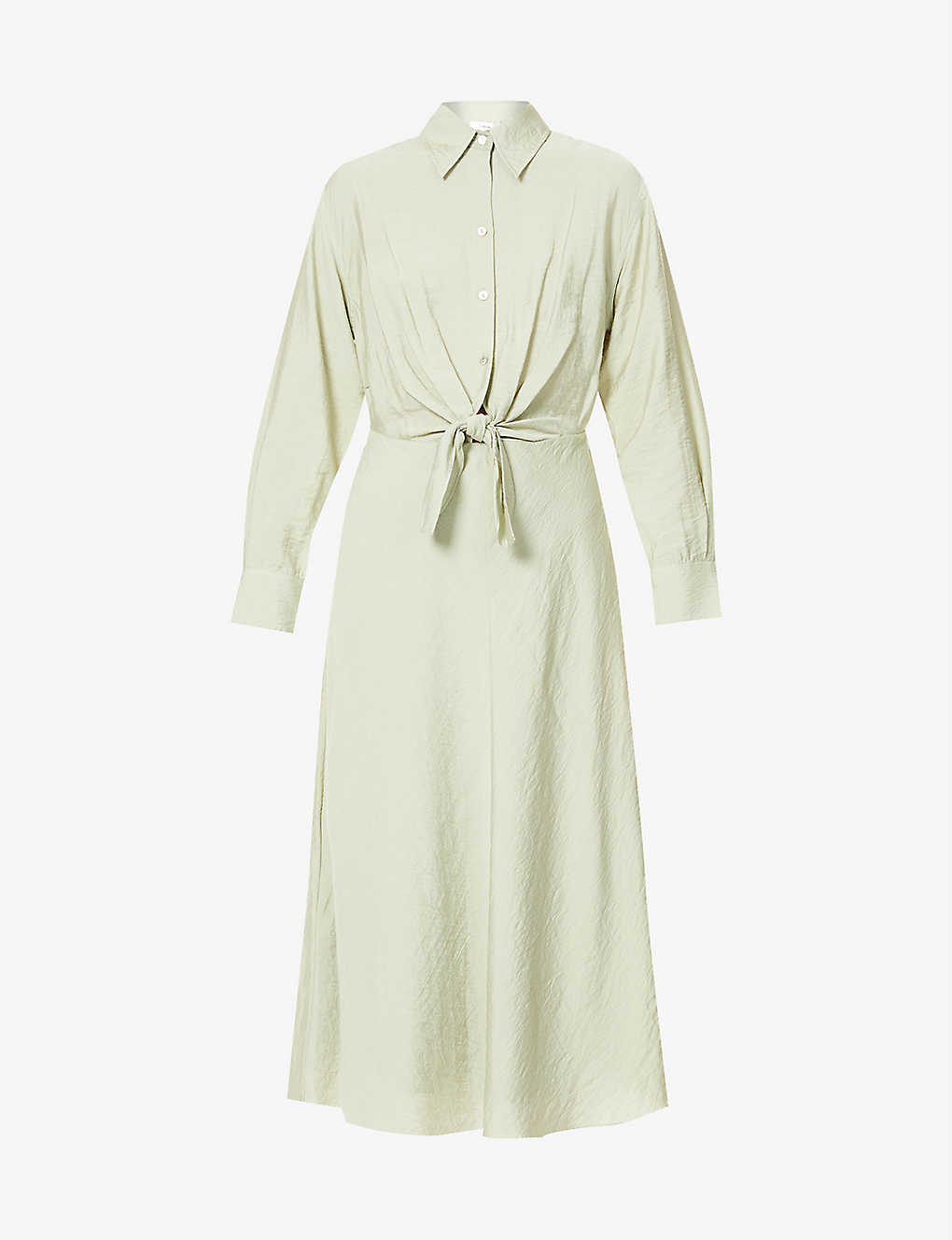 VINCE: Collared tie-front woven midi dress