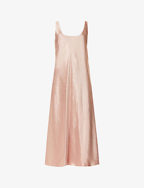 VINCE: Scoop-neck satin maxi dress
