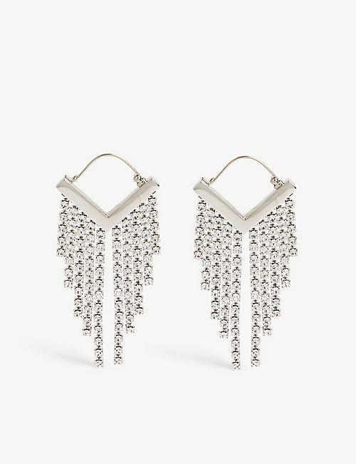 ISABEL MARANT: Crystal-embellished silver-tone fringed earrings