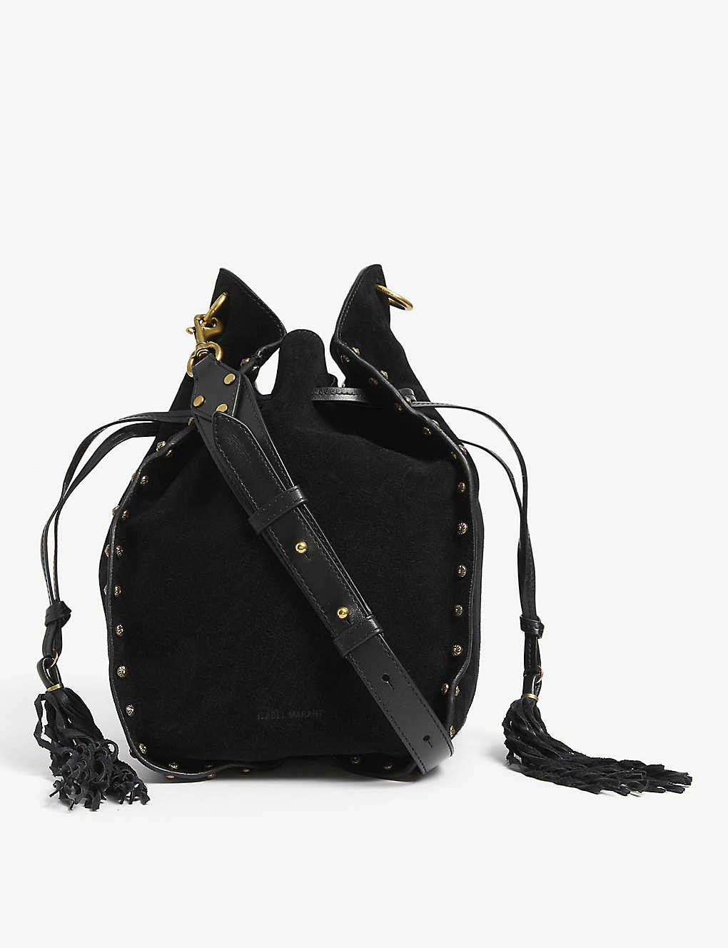 ISABEL MARANT: Taj tassel-trim suede bucket bag