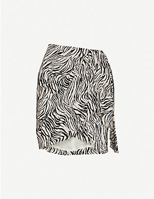 ISABEL MARANT: Ixori zebra-print high-waist stretch-silk mini skirt
