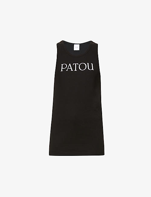 PATOU: Brand-print scoop-neck cotton-jersey tank top