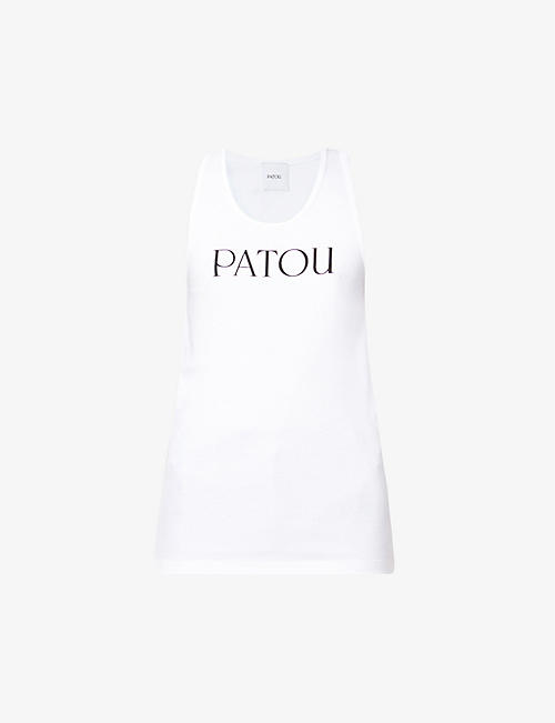 PATOU: Logo-print scoop-neck cotton-jersey tank top