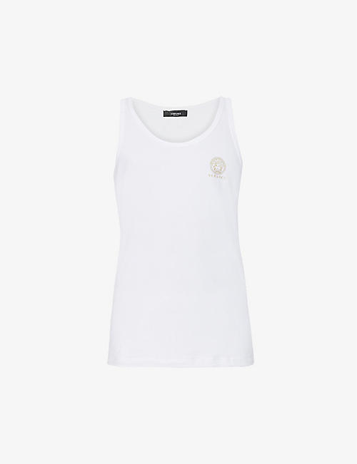 VERSACE: Logo-print scoop-neck stretch-cotton top
