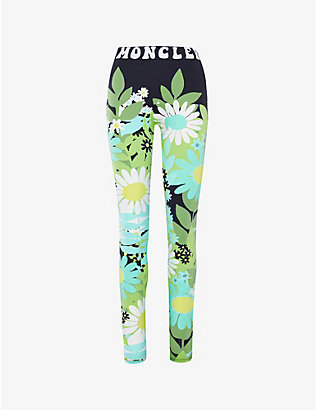 MONCLER GENIUS: Moncler Genius x Richard Quinn floral-print high-rise stretch-woven leggings