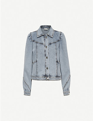 GESTUZ: Atica puffed-shoulder stretch-denim jacket