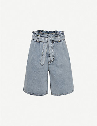 GESTUZ: Atica belted high-rise stretch-denim shorts