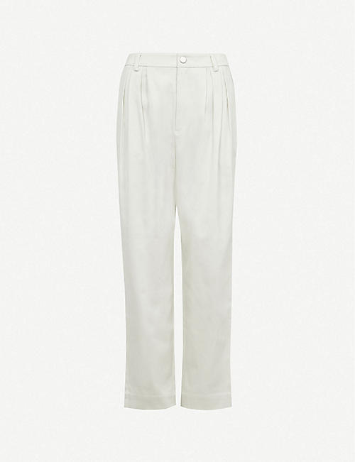 GESTUZ: Vanjo straight high-rise cotton trousers