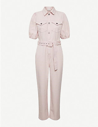 GESTUZ: Diletto belted cotton jumpsuit
