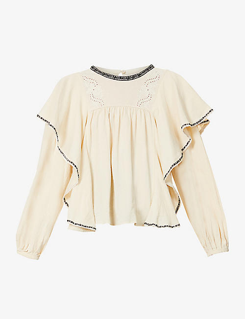 ISABEL MARANT ETOILE: Rayani flared-trim cotton top