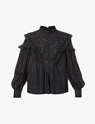 ISABEL MARANT ETOILE: Reign frilled-trim cotton top
