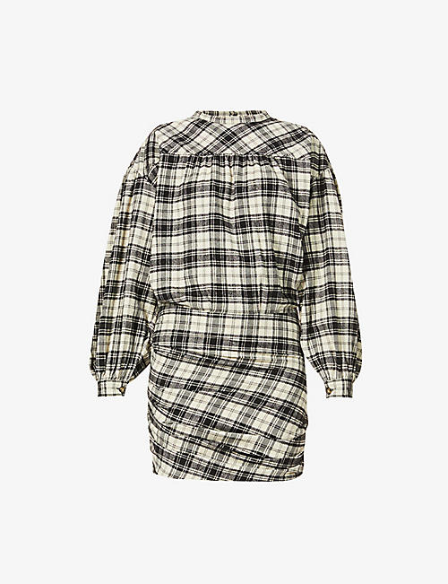 ISABEL MARANT ETOILE: Faber checked cotton-blend mini dress