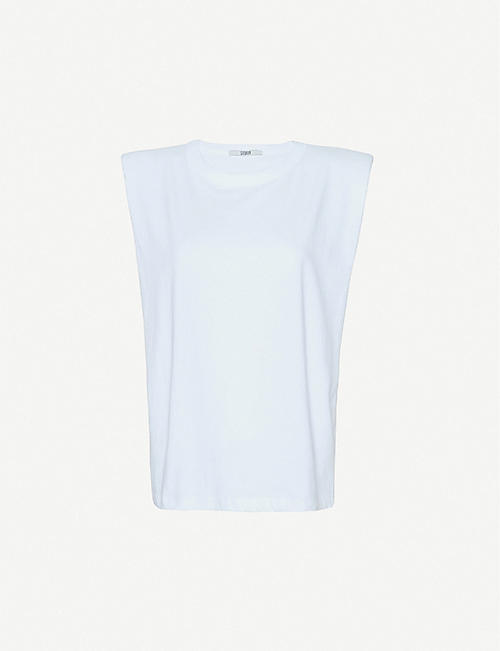 FRANKIE SHOP: Eva padded cotton-jersey top
