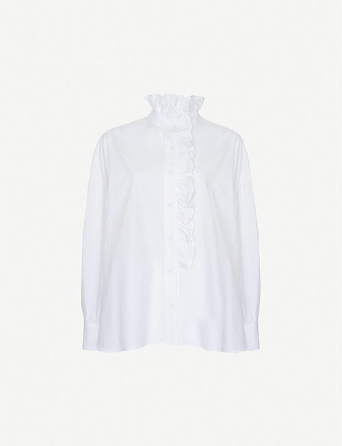 FRANKIE SHOP Leandra frilly-trim cotton blouse