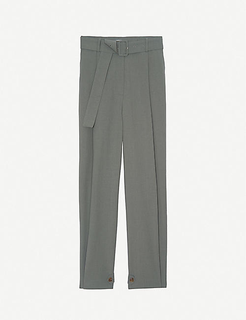 FRANKIE SHOP: Elvira belted high-rise tapered crepe trousers