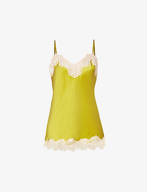 SAINTED SISTERS: Scarlett floral lace-trim silk camisole