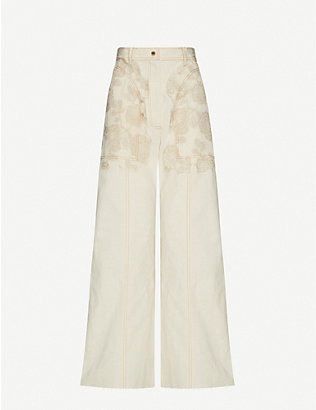 WEN PAN: Floral-overlay wide-leg high-rise cotton trousers