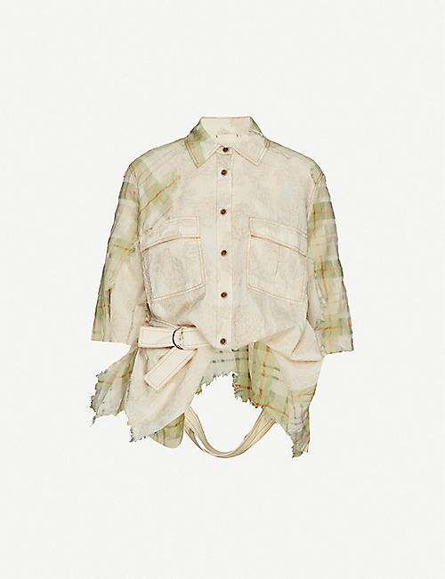 WEN PAN: Floral and check-print cotton and silk-blend shirt