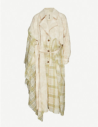 WEN PAN: Print-panelled cotton and silk-blend trench coat