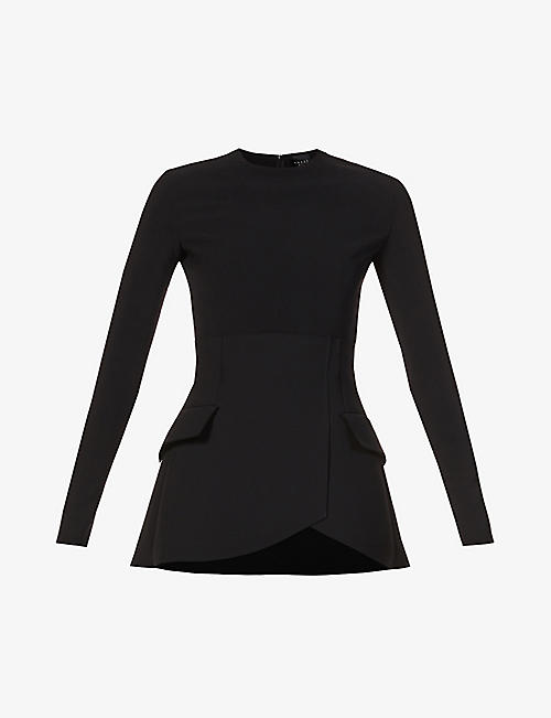 AWAKE: Corseted long-sleeve crepe top