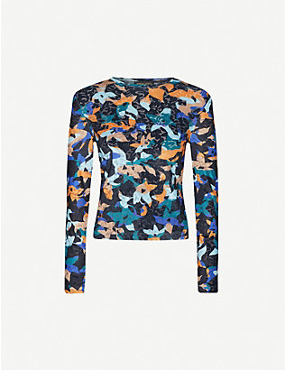 STINE GOYA: Maya abstract floral-print stretch-velour top